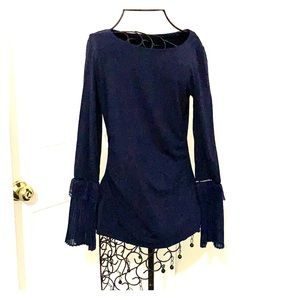 Cotton with stretch Navy boat neck WHBM top